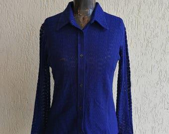Blue knitted shirt