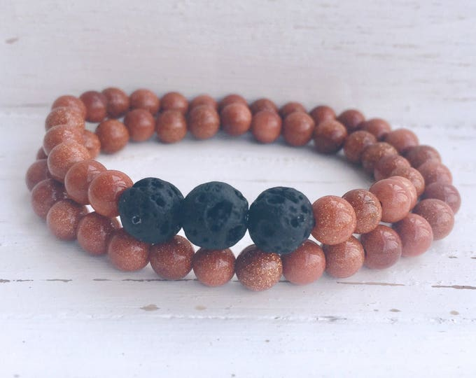 Black Lava Rock and Gold Sandstone Beaded Wrap Diffuser Bracelet