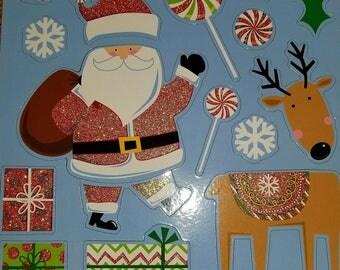 16pc Glittered Santa Christmas Magnets,Fridge Magnets, Kitchen Magnets