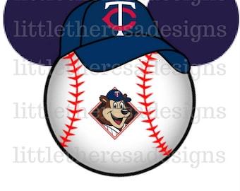 Minnesota Twins Mickey Baseball Head Transfer,Digital Transfers,Digital Iron Ons,Diy
