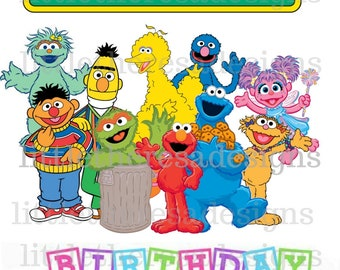 Sesame Street Birthday Girl and Family Digital Image,Digital Transfer,Digital Iron On,Diy