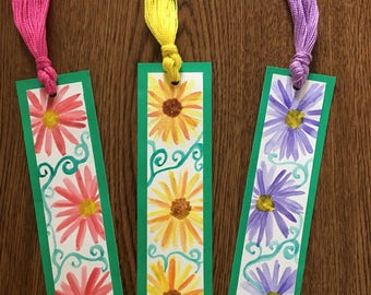 Set of 3 Watercolor Flower Bookmarks