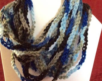 Crocheted Chain Scarf, Infinity chain scarf, Crochet scarf, Crochet chain necklace