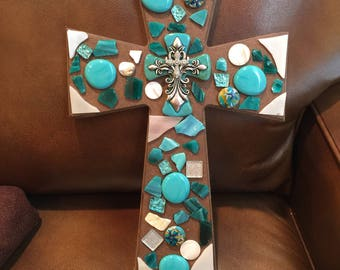 Beautiful Teal and White Glass and Marble Wooden Wall Cross