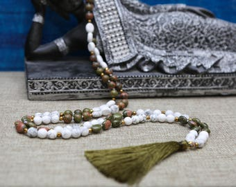 White Howlite & Unakite calming mala with green tassel