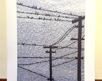 city, urban, wires, telephone pole, birds, Kate Kerrigan, mosaic, wall art, print, sky