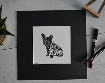 French Bulldog/Frenchie/Print/Pen&Ink/French Bulldog Design/Dog Design/Mandala Dog/Unique Design/French Bulldog Drawing/Bartok