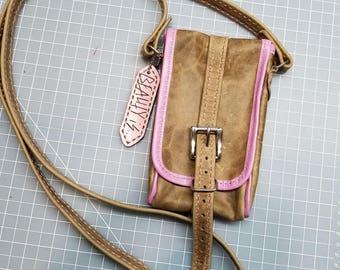 Leather Handmade Smartphone purse, I'd holder