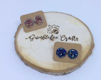 Round Druzy Cabochon Stud Earrings - Fabulous Rose Gold or Glorious Blue