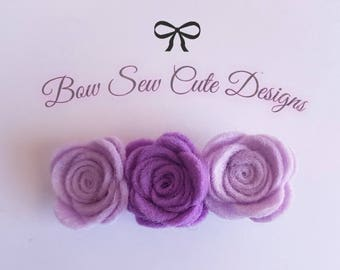 Purple felt flower rose trio alligator clip