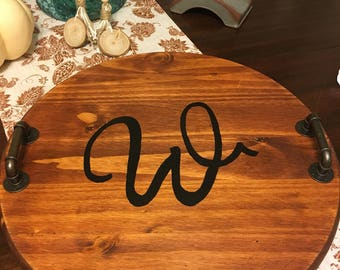 Monogrammed Wooden Tray, Decorative Tray, Wood Tray witht Handles, Personalized Decor, Serving Tray
