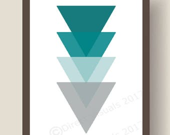 Teal To Grey Geometric Triangles Wall Art Print