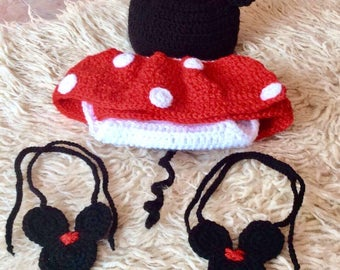 Incredible Minnie Mouse costume with unusual shoes, newborns baby costume crochet, handmade