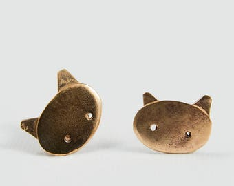 Cat jewelry, Cat earrings, Cat handmade, Cat lover gift, Bronze earrings, Bronze jewelry, Minimalist earrings, Minimalist jewelry, Wife gift