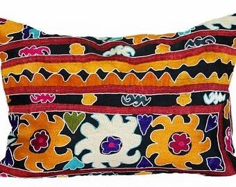 marvelous uzbek silk handmade embroidered suzani large pillow case cushion 1115