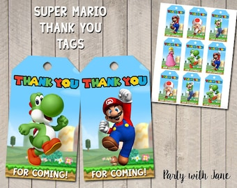 Super Mario Thank You Tags, Favor Tags, Party Decor, Birthday Decoration, Supplies, Printable