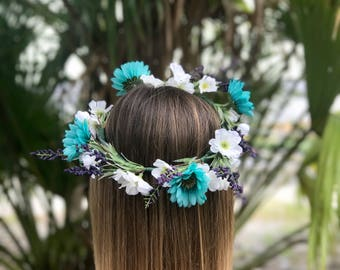 Turquoise, Purple, & White Flower Crown