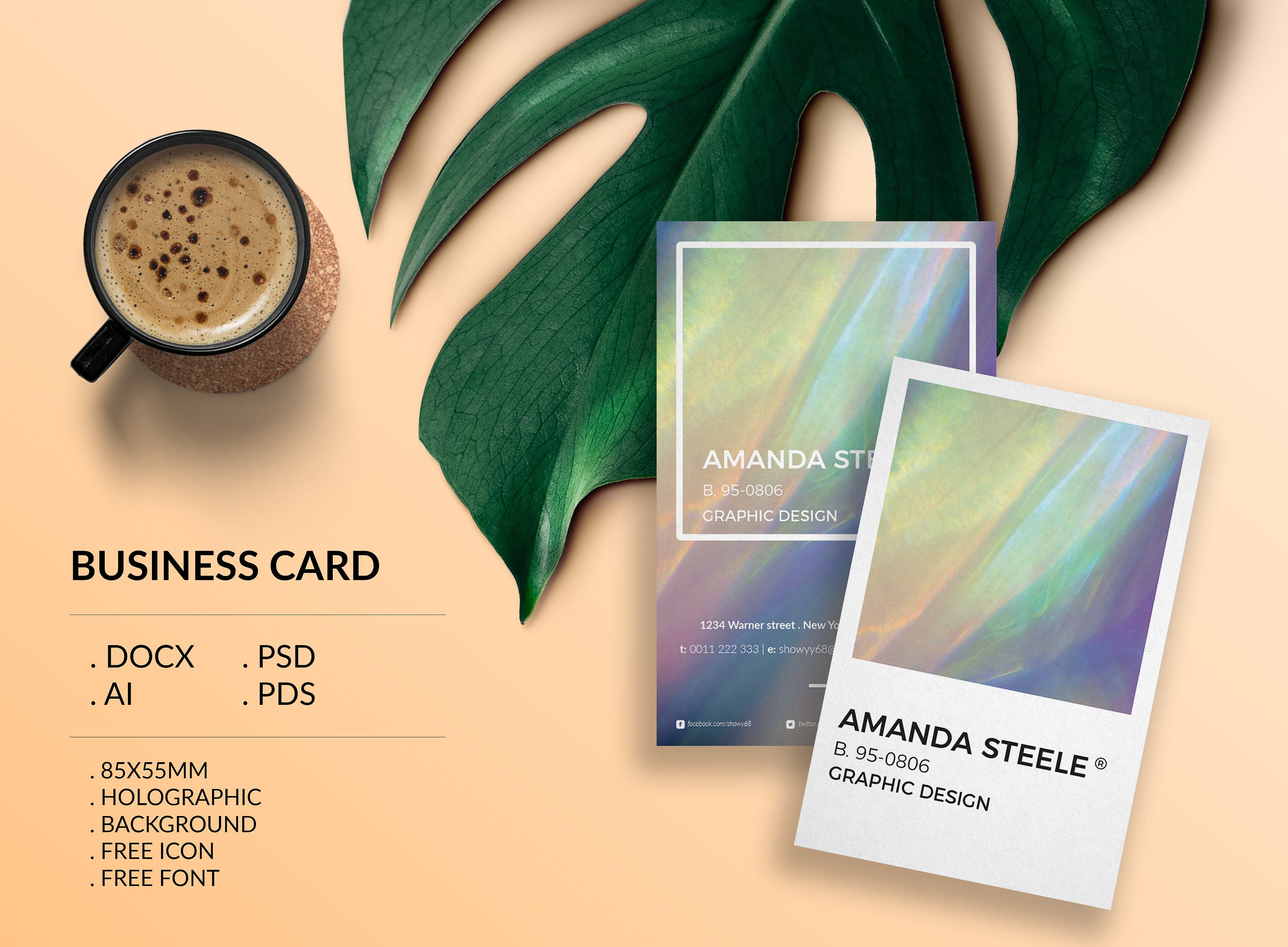 Holographic business card template creative card design holographic business card template creative card design morden business card calling card magicingreecefo Image collections