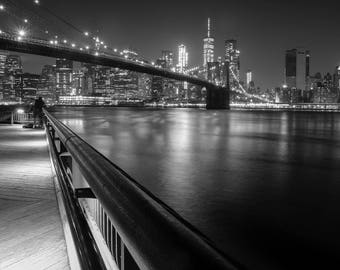 Brooklyn Bridge New York Night Photography Black and White Photography