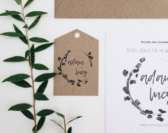 Foliage Crest || Rustic Wedding Invitations, Handmade Wedding Invitation Suite, Boho Greenery Wedding Invitation, Garden Wedding