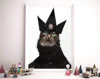 Cat Couture Poster, Cat Fashion Poster, Cat Portrait by Jason McGroarty