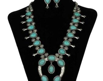Turquoise Fashion Squash Blossom Necklace Set-SS0057SBTQ001