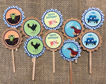 12 Little Blue Truck Cupcake Toppers