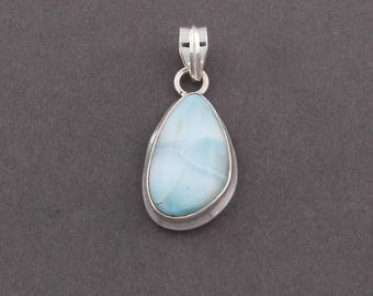 50% off 1 Pc Natural Larimar Fancy Shape 32mmx16mm Pendant With 925 Sterling Silver Guarantee SP-093