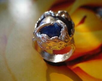 Lapiz Lazuli Ring - Sterling Silver Ring - Blue Ring - Engagenment Ring - Big lapis lazuli Cab - Statement Ring KIK19