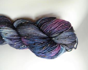 Night Unfurls BFL Tweed Sock Yarn