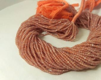 AAA 100% Natural Micro Peach Moonstone Faceted Rondelle Strands Beads 2-2.5mm, Peach Moonstone Beads, Moonstone Beads, Micro Beads Strands