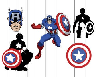 INSTANT DWNLOAD- captain America svg, clipart, avengers svg, eps, png, dxf, stencils, decal, vinyl, silhouette, vector, printable, image,