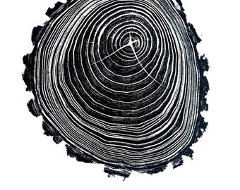 Handmade Wood Block Print - Contour
