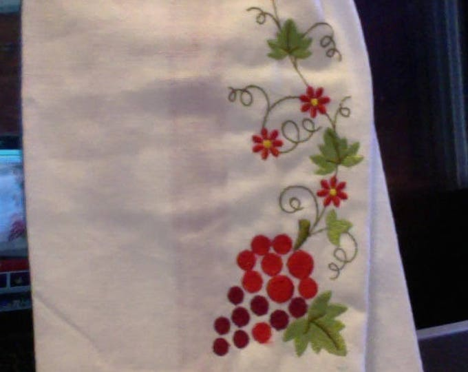 Kitchen Towel With Hanger Embellished with Grapes and A Glass of Wine - Kitchen Towel for Wine Lovers - Kitchen Towel for Housewarming gift