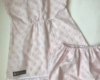 Little girl sz 3 preshrunk cotton top/bloomer. Pink/white