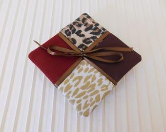 Coasters Set of 4, leopard print Fun set.