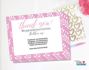 Editable Thank You Cards, We Appreciate Your Business Cards, Editable PDF Cards, Follow Us, Personalized Customized Branding Card DIY Cards