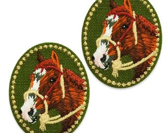 Expo Henry Horse Embroidered Iron-On Patch Applique 2 Pack