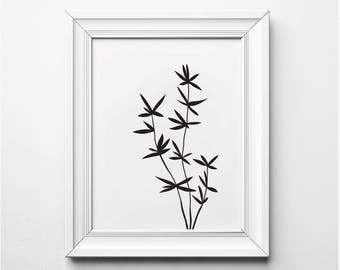 Bamboo Illustration, Bamboo Wall Art, Bamboo Art Print, Black and White Plant Art, Printable, Minimalist Decor, Modern Botanical Print