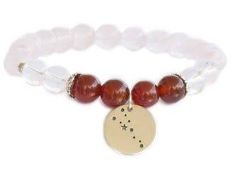 Taurus birthstone bracelet / Star constellation bracelet / Birthstone bracelet / Taurus bracelet / Rose Quartz bracelet