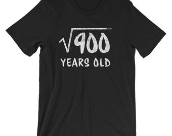 30th Birthday T-Shirt, Square Root of 900 Years Old T-Shirt, Funny Math Birthday Shirt, 30 Years Old Birthday Gift, 30 Years Old T-Shirt