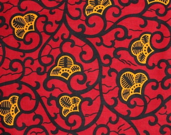 Red and yellow african fabric / African fabric by the yard / African fabric wholesale / African fabrics sale