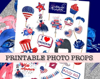 4th of JULY PRINTABLE PHOTO booth props,  Printable Photo booth props, Independence day party props, july 4th photos booth, digital props