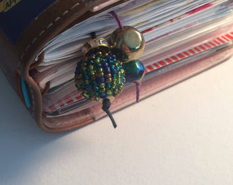 Double ended bookmark with dangling beaded accents