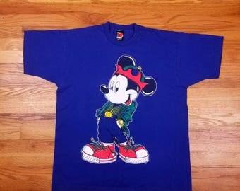Vintage 90s Mickey Mouse Disney T Shirt hip hop rap tee Size Large L