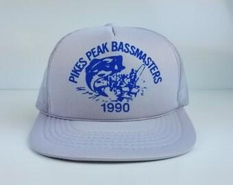 Vintage 90s 1990 BassMasters Fishing Trucker Snapback Baseball Gray Hat Cap Bass Pikes Peak Colorado