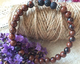 Diffuser Bracelet, Mahogany Wood, for Healing and Guidance