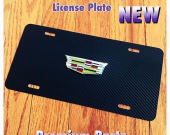 Cadillac 3D Custom Carbon Fiber And Mirror Chrome Crest License Plate New Escalade Ats Dts Cts Xlr  Srx  Universal 4 Styles