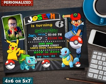Pokemon Invitation- Pokemon Party- Pokemon Birthday Invitation- Pokemon Birthday Card- Pokemon GO Invitation- Pikachu Invitation- Pokemon