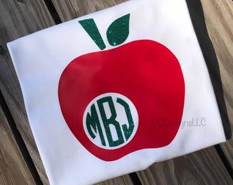 Back to School Shirt - Teacher Shirt - Monogram Apple - Teacher Monogram Shirt -Apple Monogram Shirt